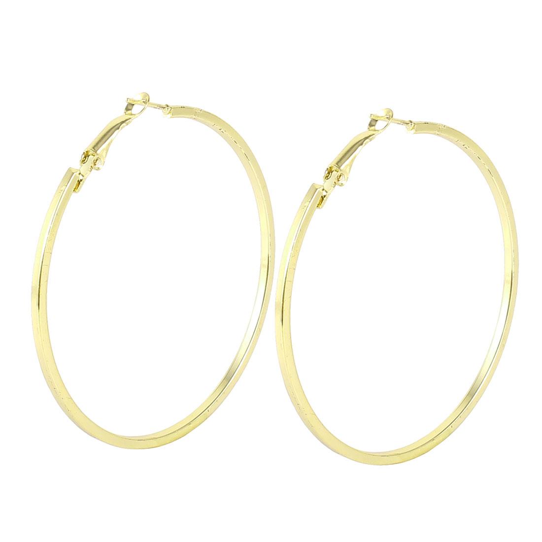Ladies Gold Tone Ears Decoration 0.2cm Dia Spring Hoop Earrings Pair