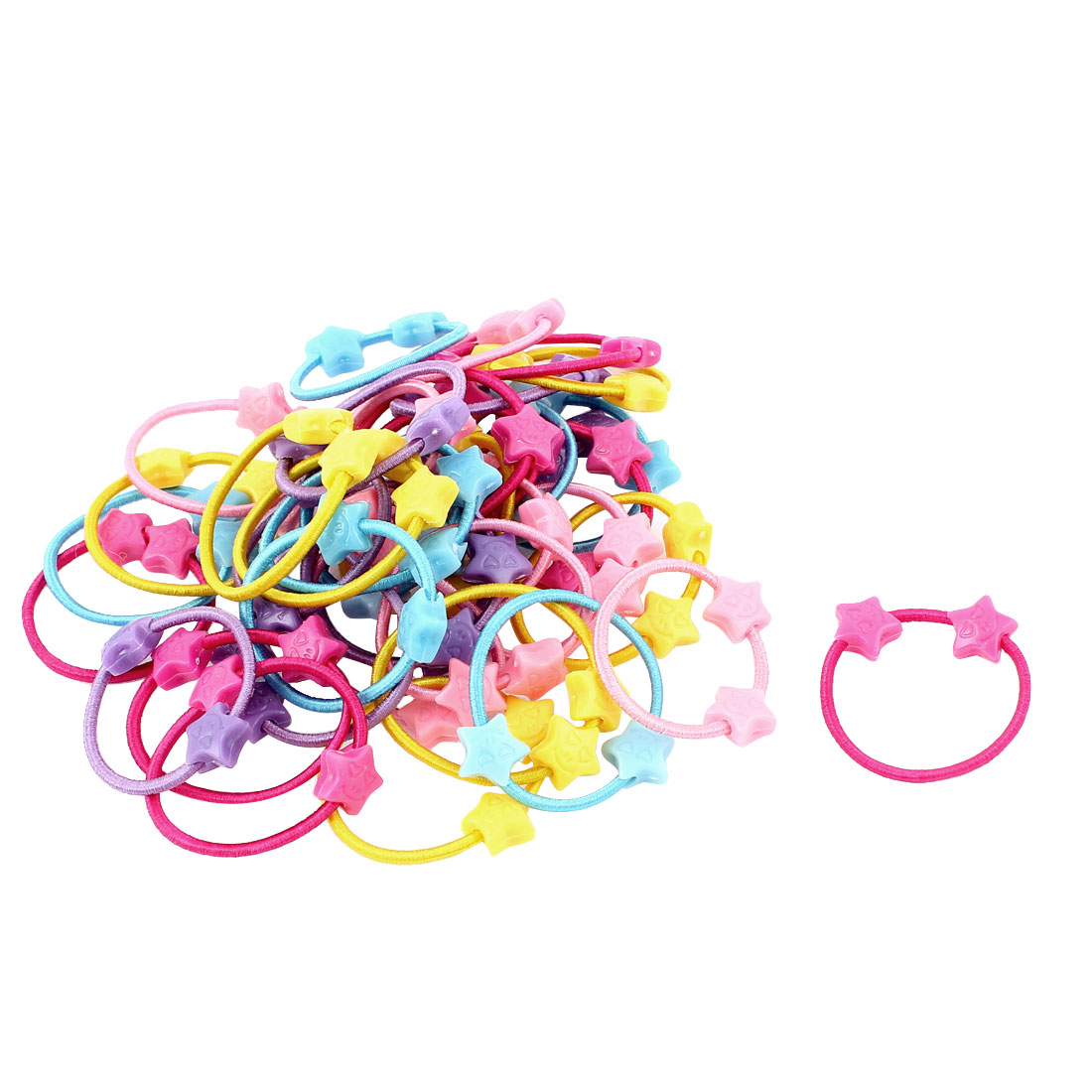 50 Pcs Assorted Color Heart Shape Elastic Ponytail Holder Hair Ties