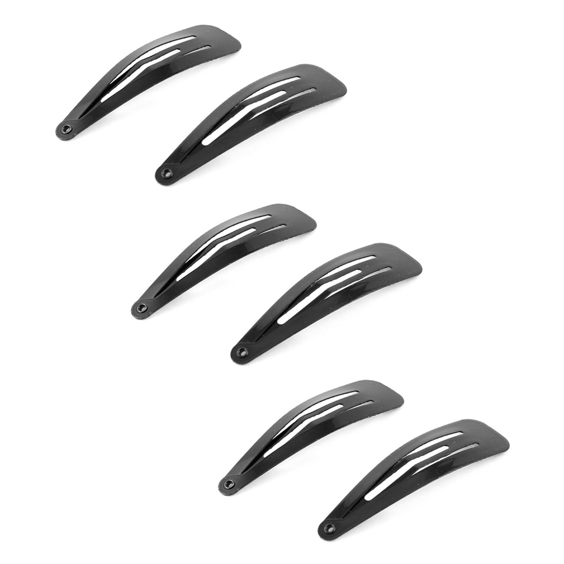 6 Pcs DIY Hairdressing Black Slides Grips Metal Bendy Snap Hair Clip