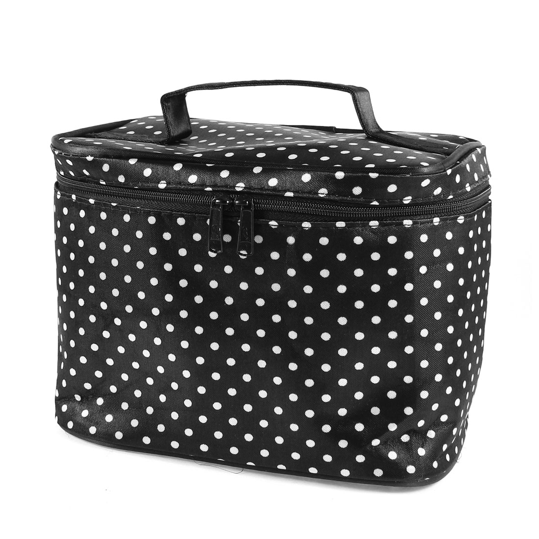 Travel White Dots Pattern Zipper Closure Case Mirror Makeup Bag Black