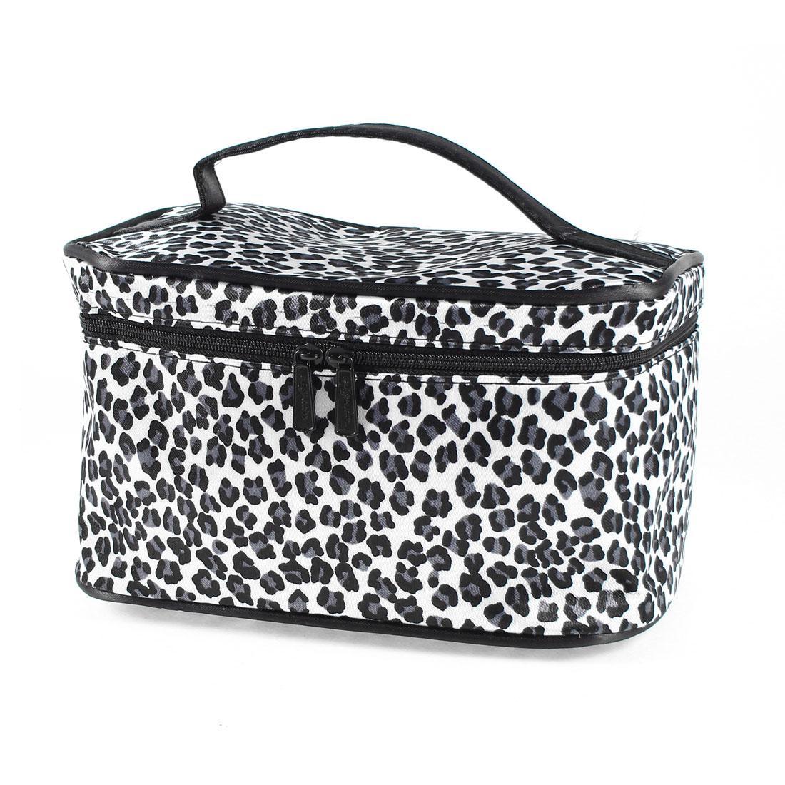 Black Gray Zippered Leopard Prints Storage Case Cosmetic Make Up Bag