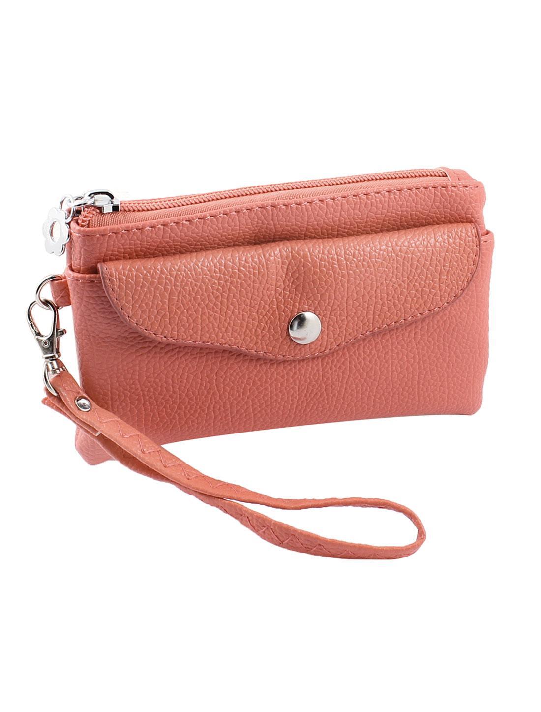 Watermelon Red Litchi Pattern Zipper Wallet Purse w Strap for Woman Lady
