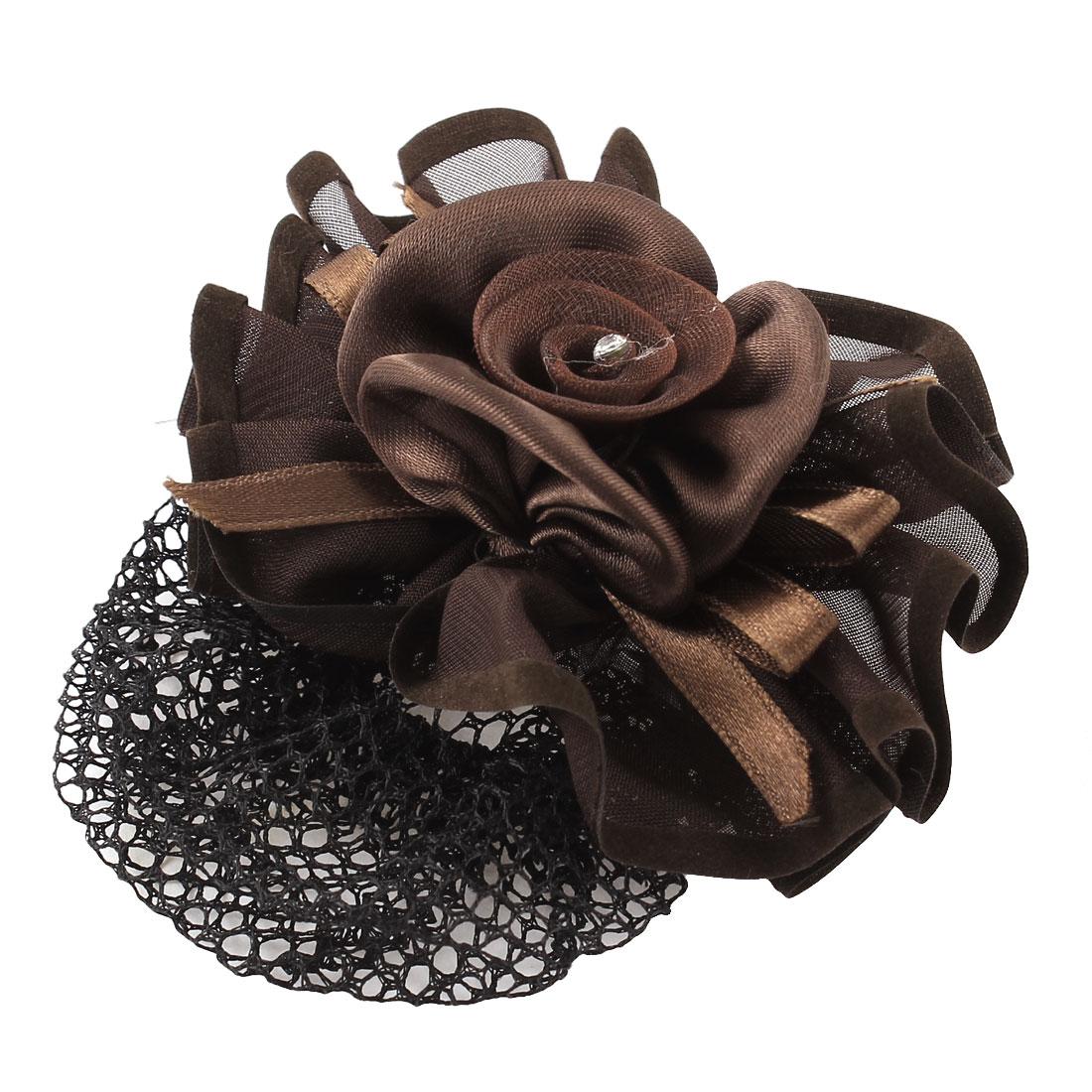 Headdressing Flower Shape Elastic Band Hairclip Hairnet Chocolate Color