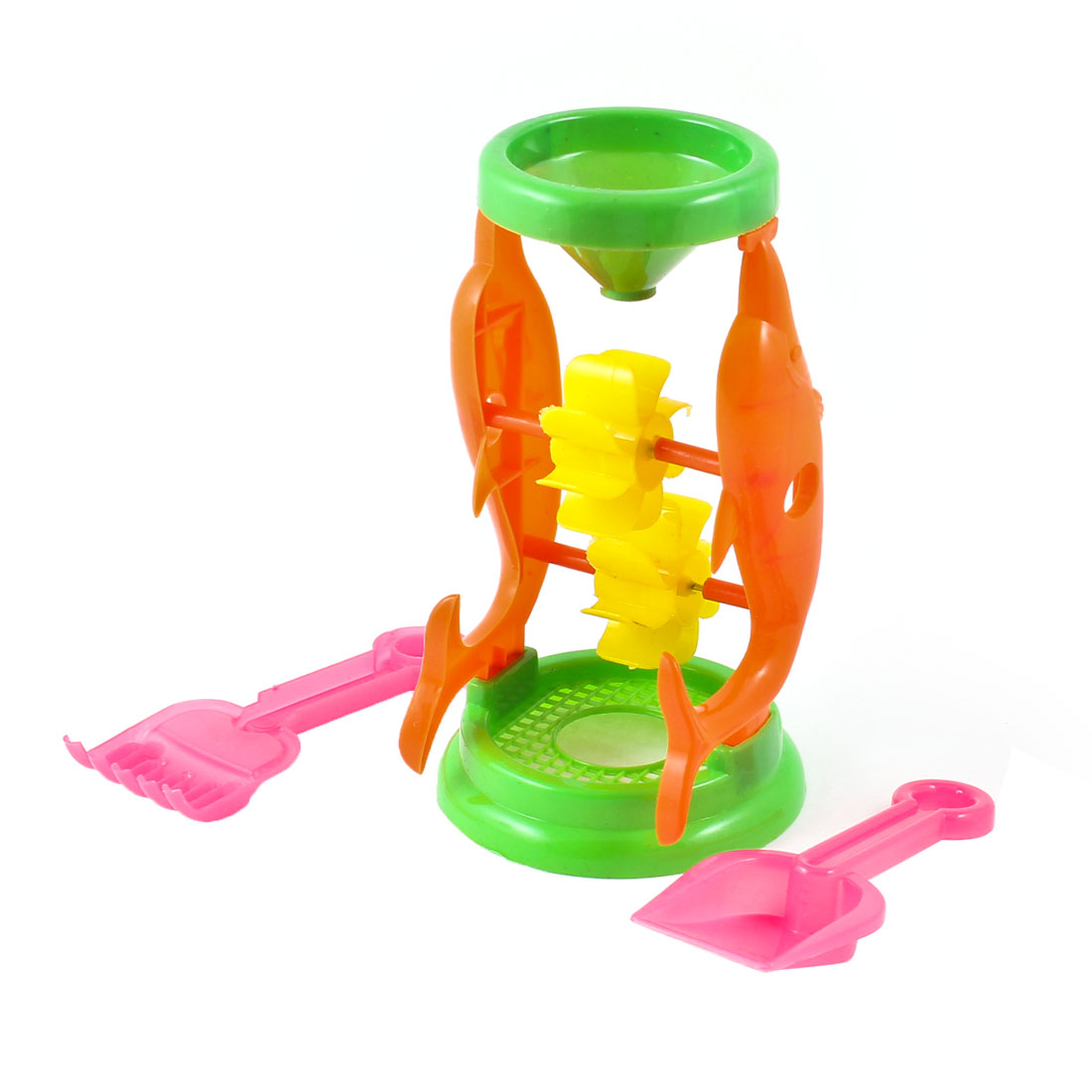 Orange Dolphin Decor Plastic Filling Funnel Sand Beach Toy w Two Shovel