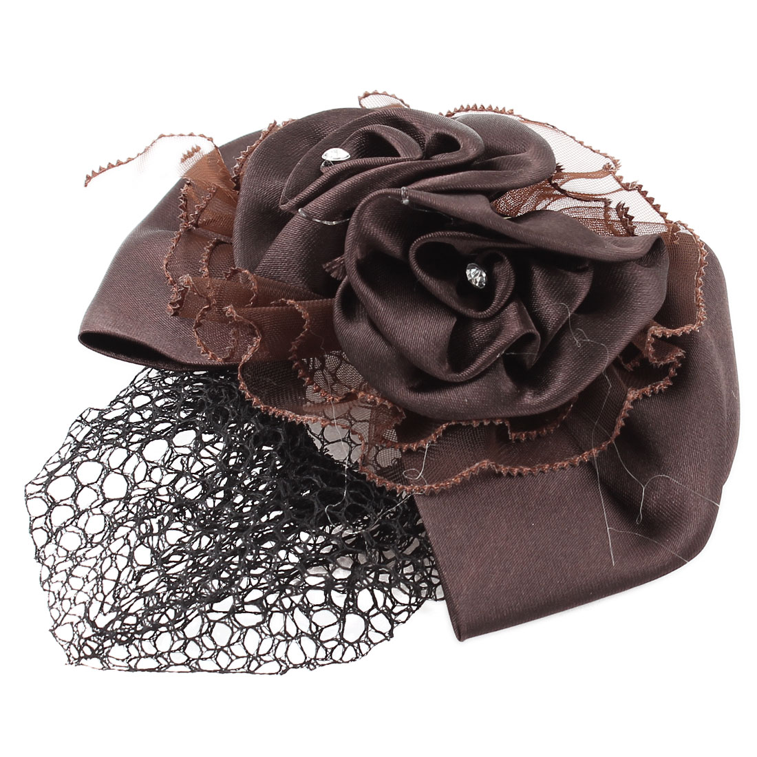 Headdress Bowtie Flower Accent Elastic Band Hairclip Hairnet Coffee Color