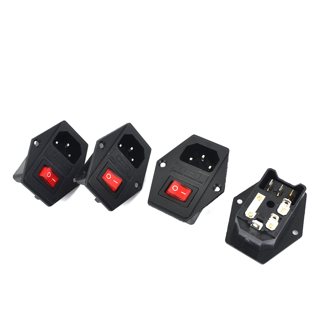 4 Pcs Replacement IEC320 C14 3 Pole 6 Terminals SPST Black Fused Power Socket w Red Switch AC 10A 250V