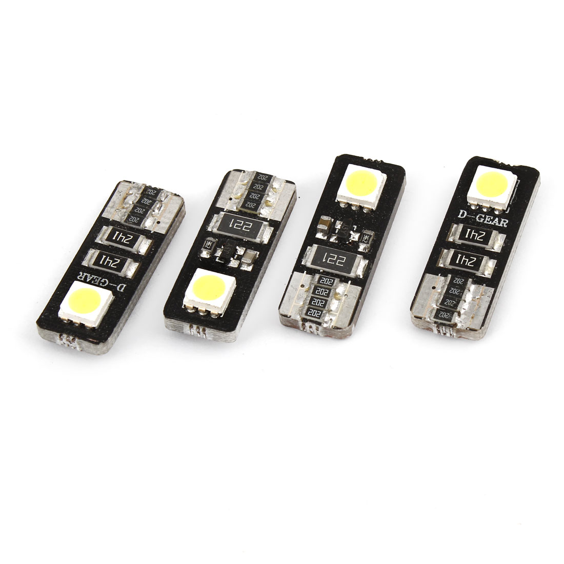 4 Pcs White 5050 2 SMD LEDs T10 Wedge Car Dash Light Bulb Lamp 12V Internal
