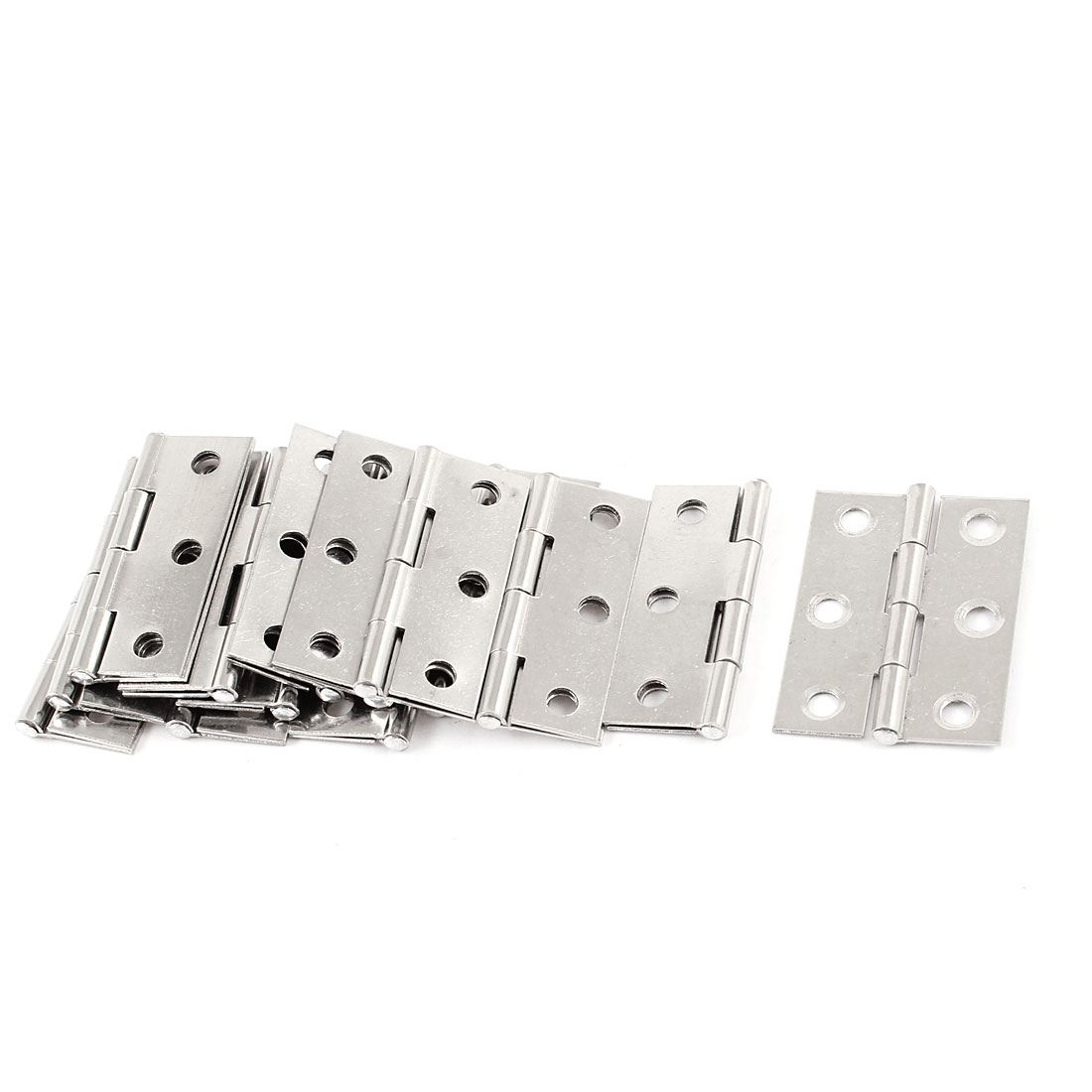 "14 Pcs 1.7"" Long Metal Rotatable Cupboard Door Hinge Silver Tone"