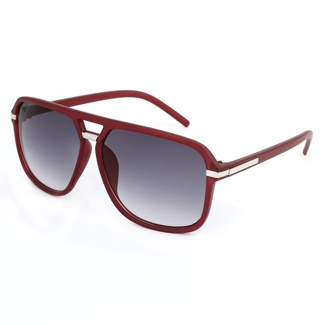 Fashionable Metal Decor Temple Double Bridge Burgundy Plastic Full Rim Frame Square Shape Gradient Gray Lens Leisure Eyeglasses Sun Glasses