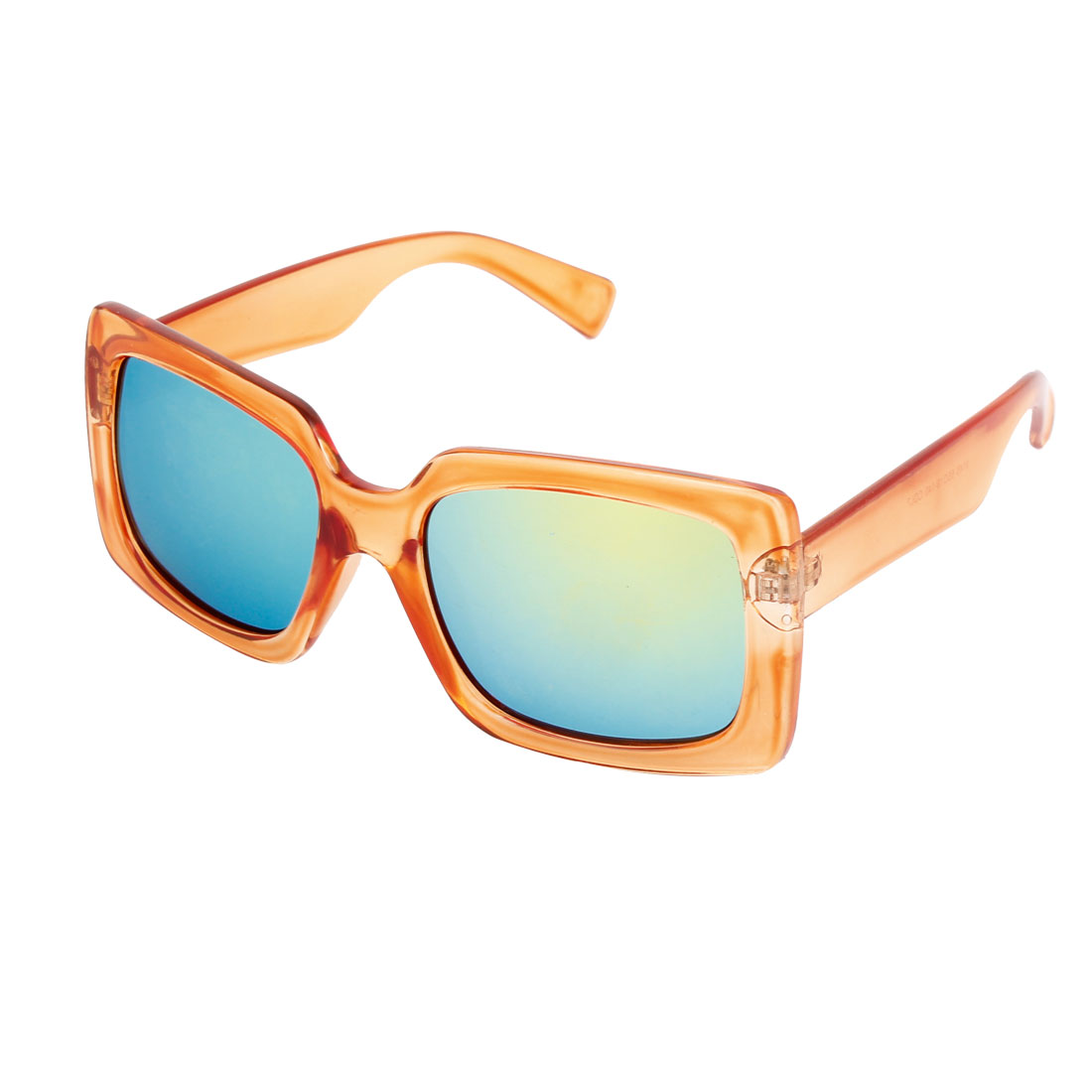 Single Bridge Wide Temple Orange Square Shape Full Rim Frame Blue Mirror Lens Beach Traveling Shopping Leisure Eyeglasses Sun Glasses