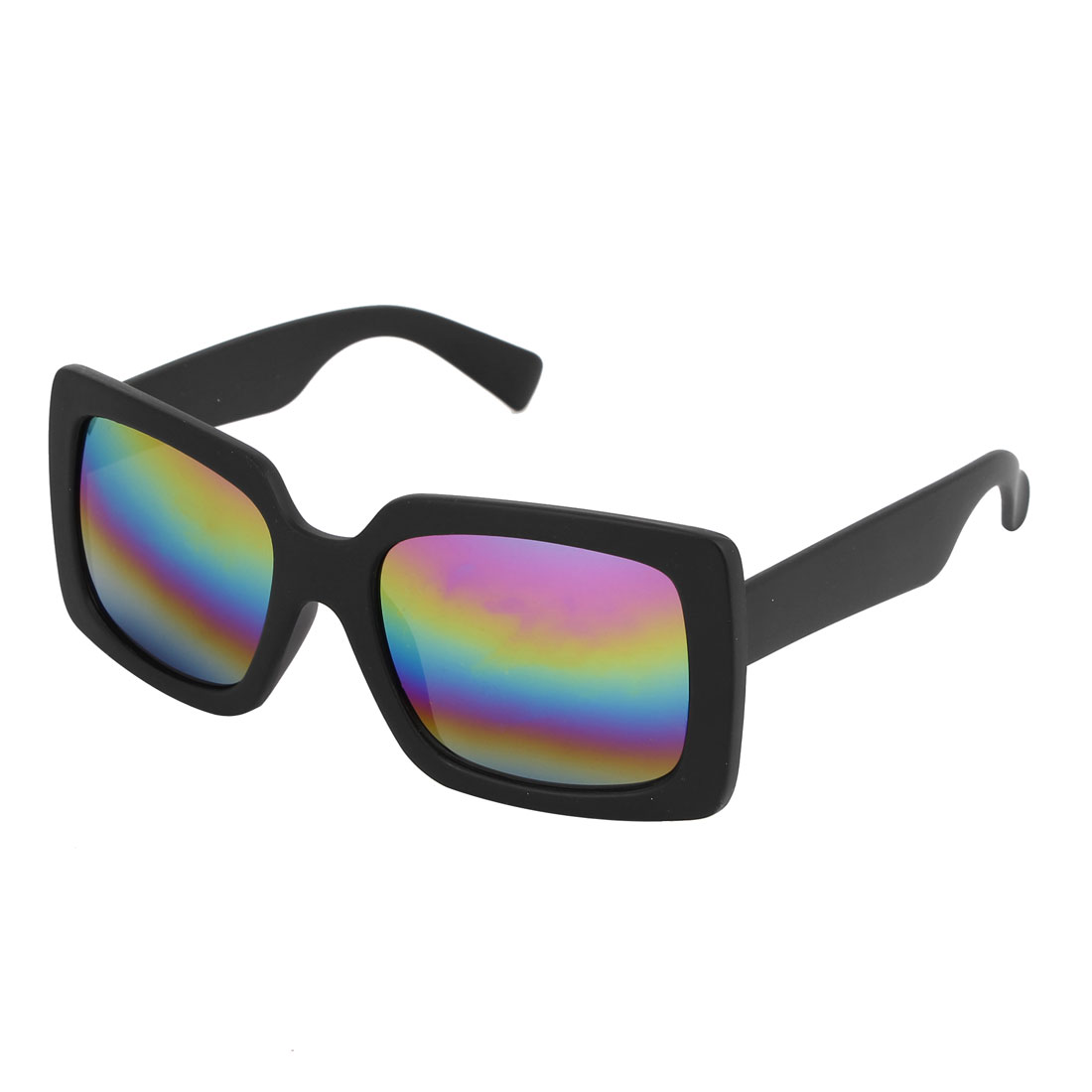 Single Bridge Wide Temple Black Square Shape Full Rim Frame Colorful Mirror Lens Beach Traveling Shopping Leisure Eyeglasses Sun Glasses