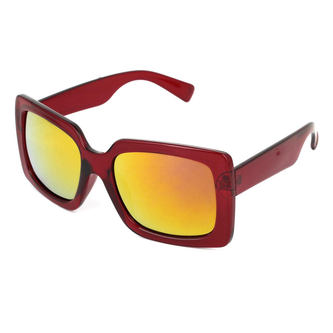 Single Bridge Wide Temple Burgundy Square Shape Full Rim Frame Yellow Mirror Lens Beach Traveling Shopping Leisure Eyeglasses Sun Glasses