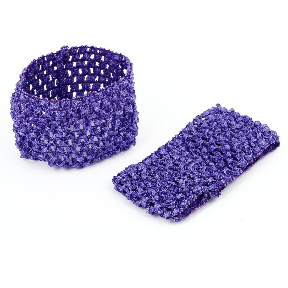 2pcs Purple Bathing Shower Spa Knitting Hollow Out Design Stretchy Elastic Cosmetic Headband Headwrap Hairband Ornament for Ladies