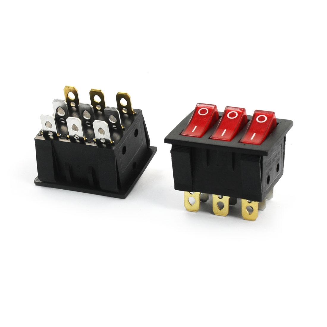 2Pcs AC250V 16A 3 Way Red Pilot Lamp Three SPST Rocker Switches