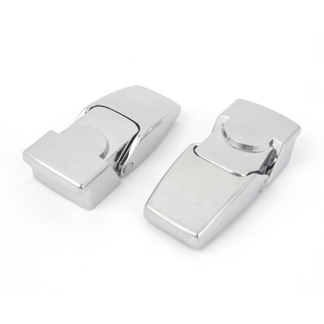 Spring Load Metal Hasp Latch Black DSK for Cabinets Silver Tone 2Pcs