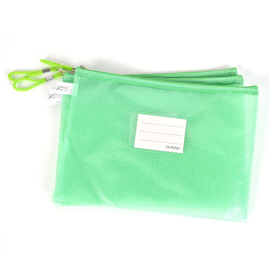 3 Pcs Netting Decor Surface A4 Document File Holder Zipper Bag Green