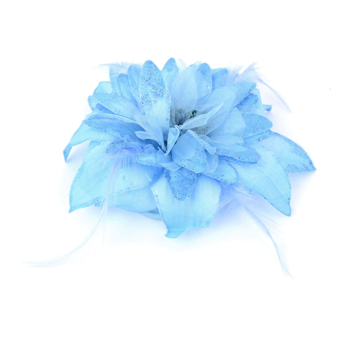 Women Blue Fabric Flower Feather Glitter Accent Rubber Hairband Brooch