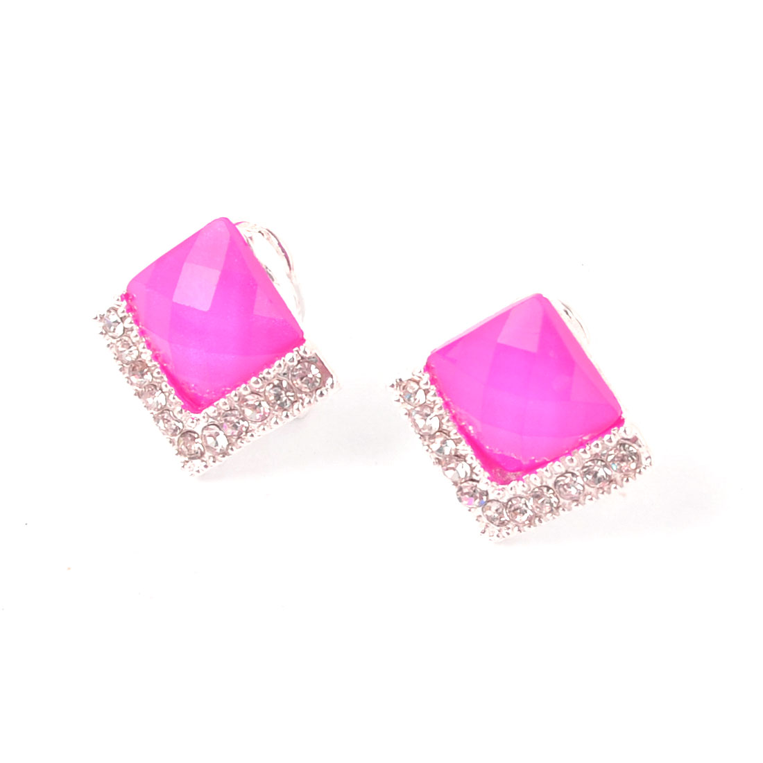 Plastic Crystal Detail Ear Nail French Clip Stud Earrings Pair