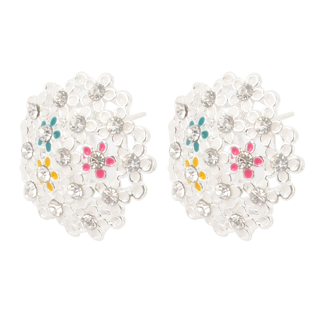 Lady Girls Faux Rhinestone Detail Flower Design Ear Stud Earrings Pair