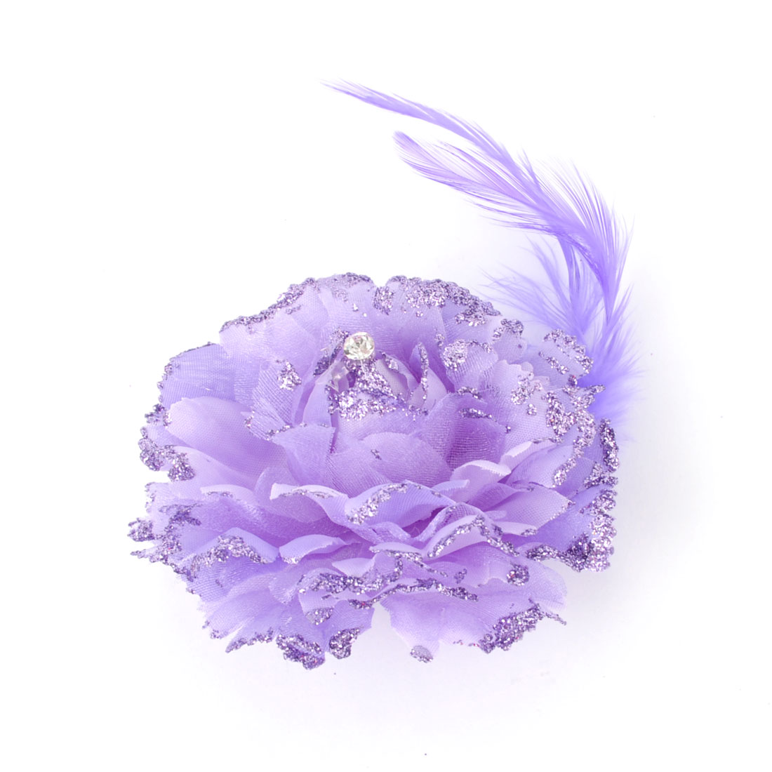 Women Purple Flower Feather Detail Alligator Hair Clip Brooch