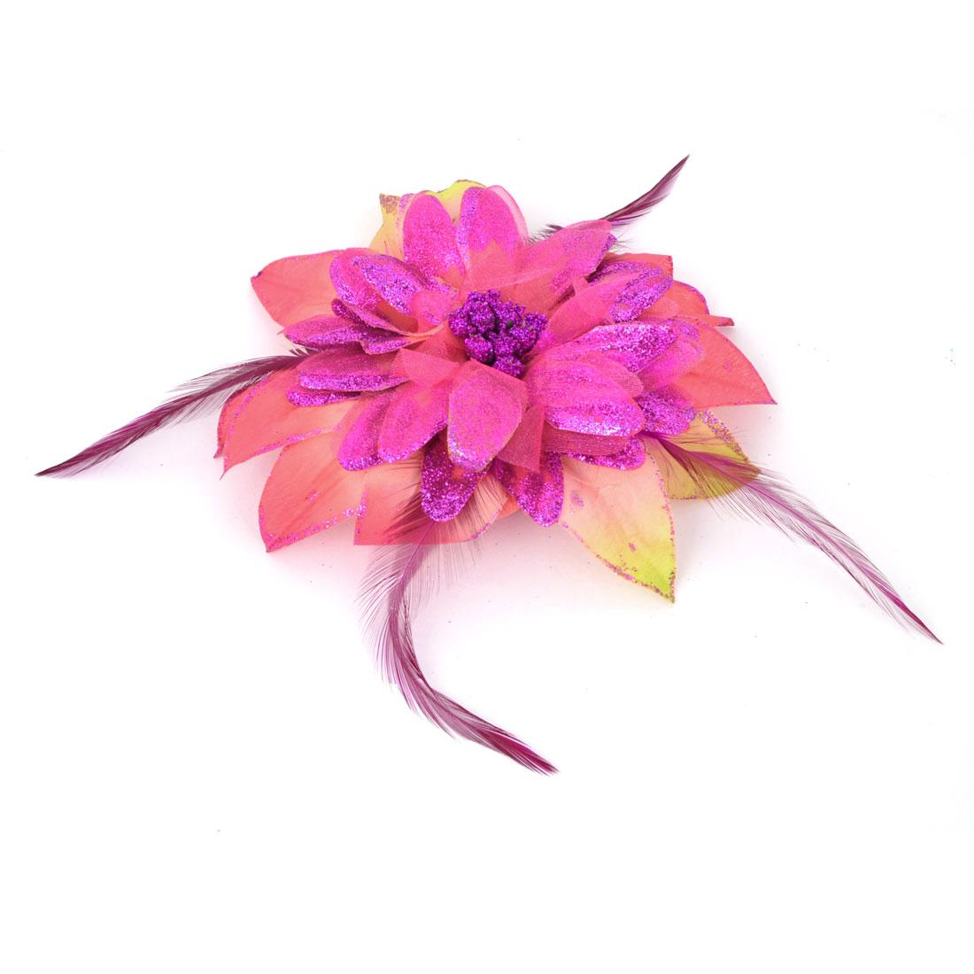 Amaranth Flower Glitter Powder Decor Alligator Hair Clip Brooch