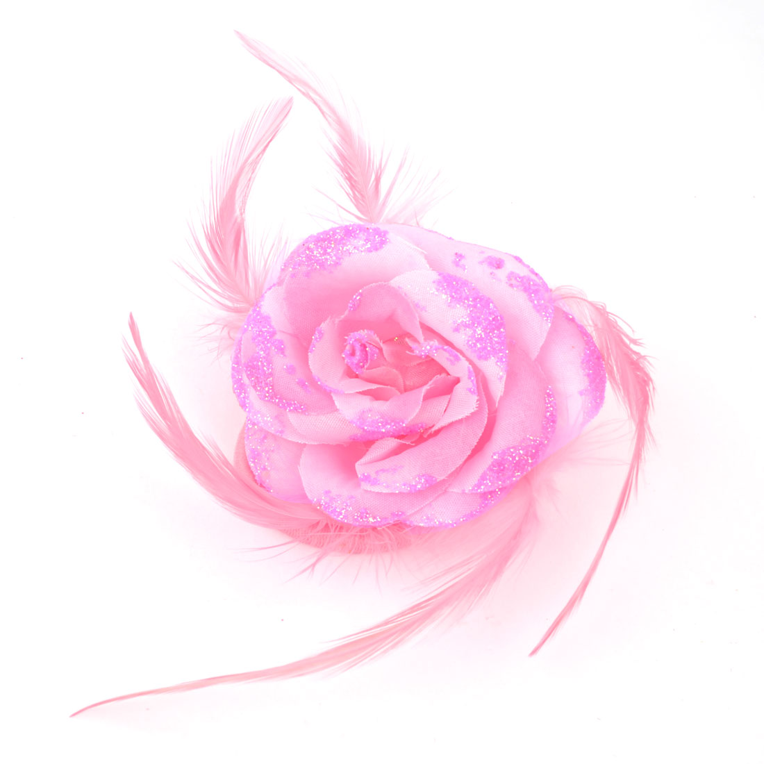 Women Party Pink Glitter Fabric Floral Feather Detailing Elastic Hairband Brooch