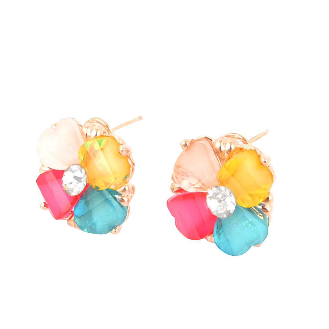 Women Multicolor Plastic Crystal Detailing French Clip Stud Earrings Pair