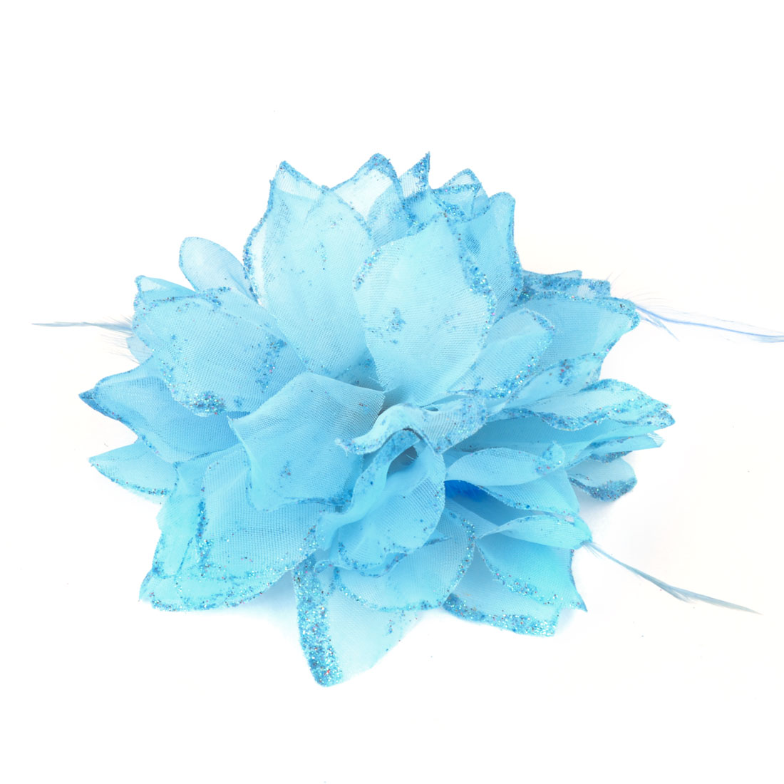 Blue Glittery Detail Fabric Flower Decoration Rubber Hair Band Brooch