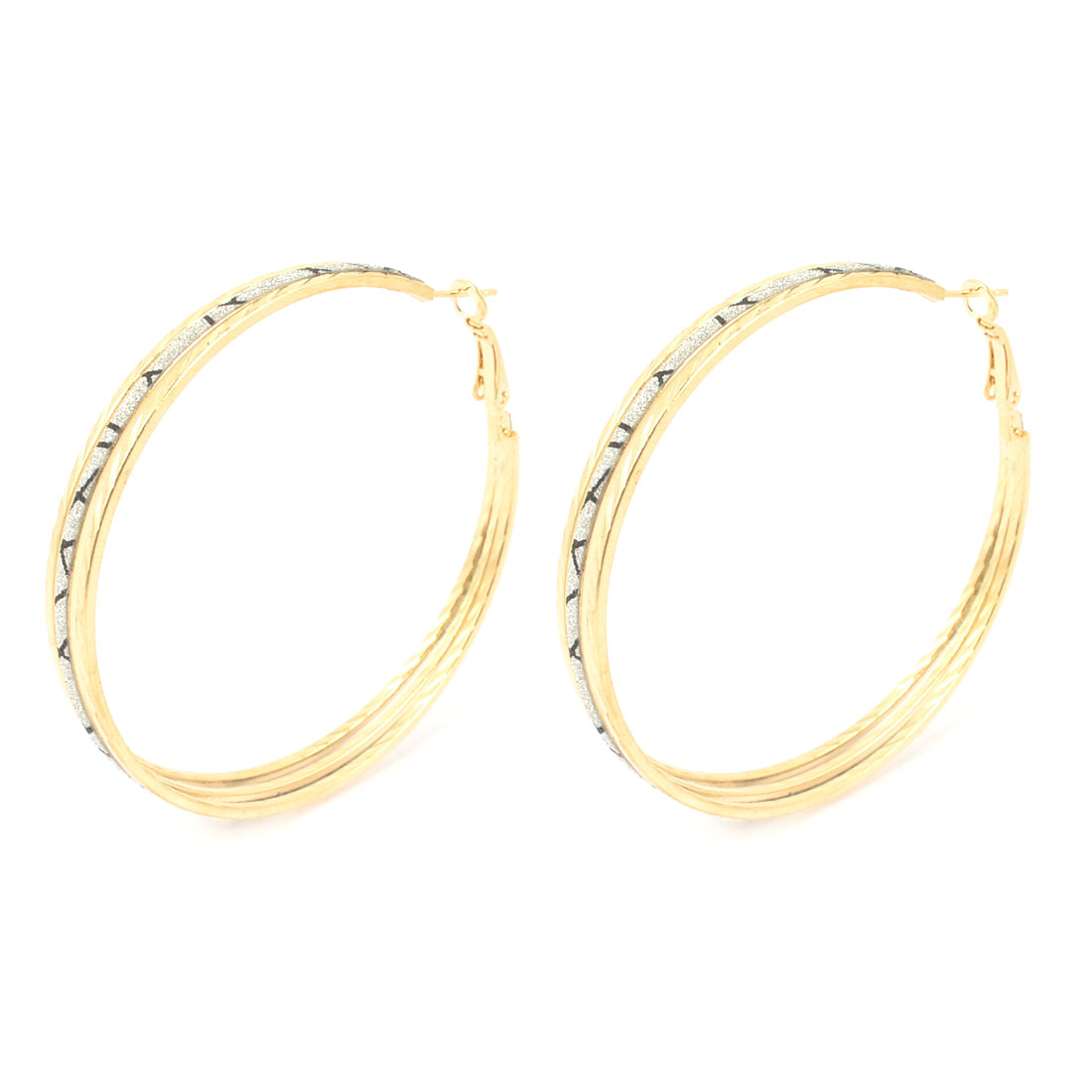 Pair Metal Round Shape Glitter Powder Accent Full Circle Hoop Earrings for Lady