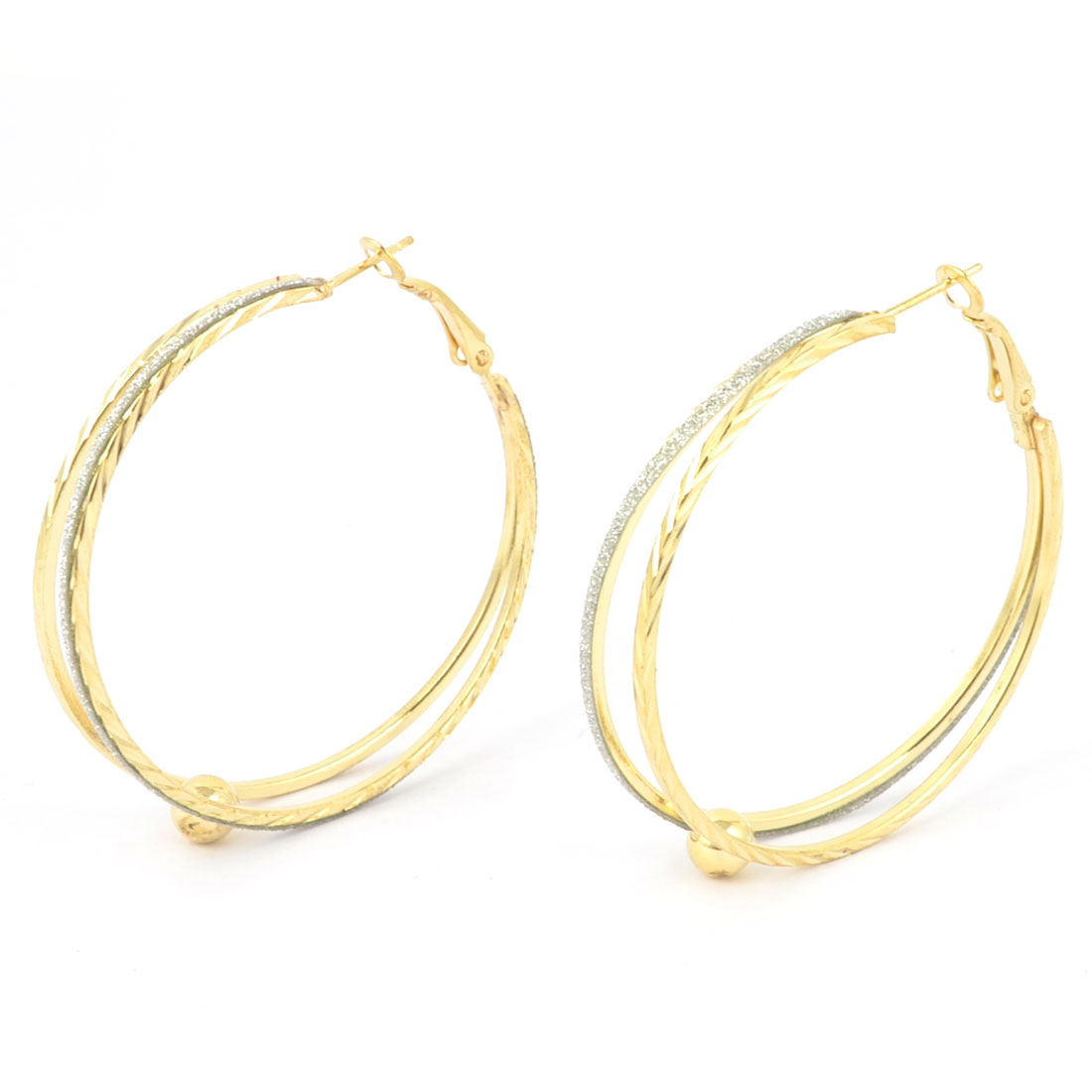"Women Circle Shaped Glitter Deor 2"" Dia Round Hoop Earrings Pair"