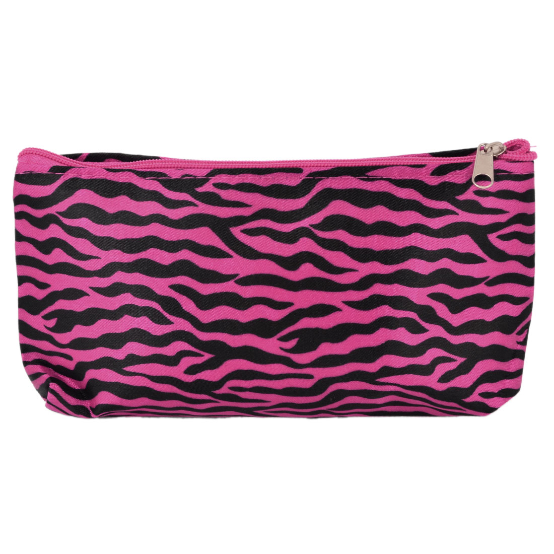 Lady Fuchsia Black Zebra Style Zip Up Cosmetic Holder Pouch Bag