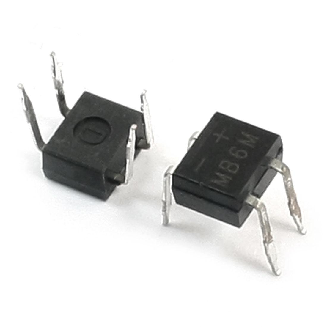 2PCS MB6M 0.5Amp 600V PCB Mounting 4Pins Terminals Rectifier Bridge