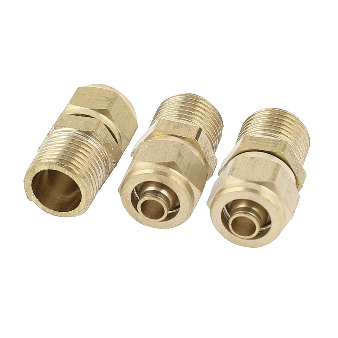 3Pcs Brass 1/8PT Thread 4mm Hose Quick Joint Connectors 20mm x 10mm