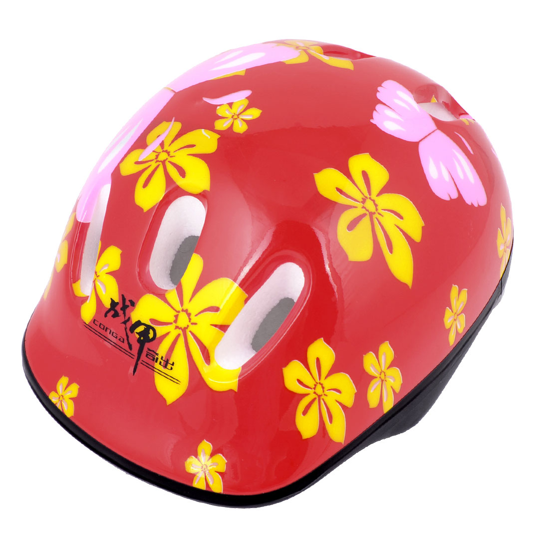 Kids Bicycling Skating Flower Print Foam Lining Safety Helmet Red