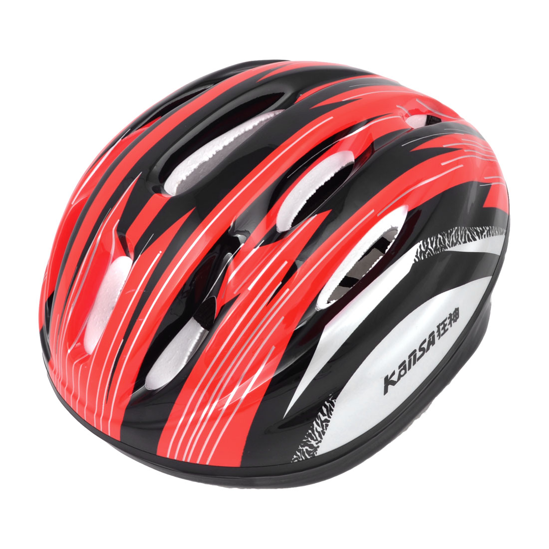 Adults Bicycling Skating Stripe Print Foam Lining Safety Helmet Red Black