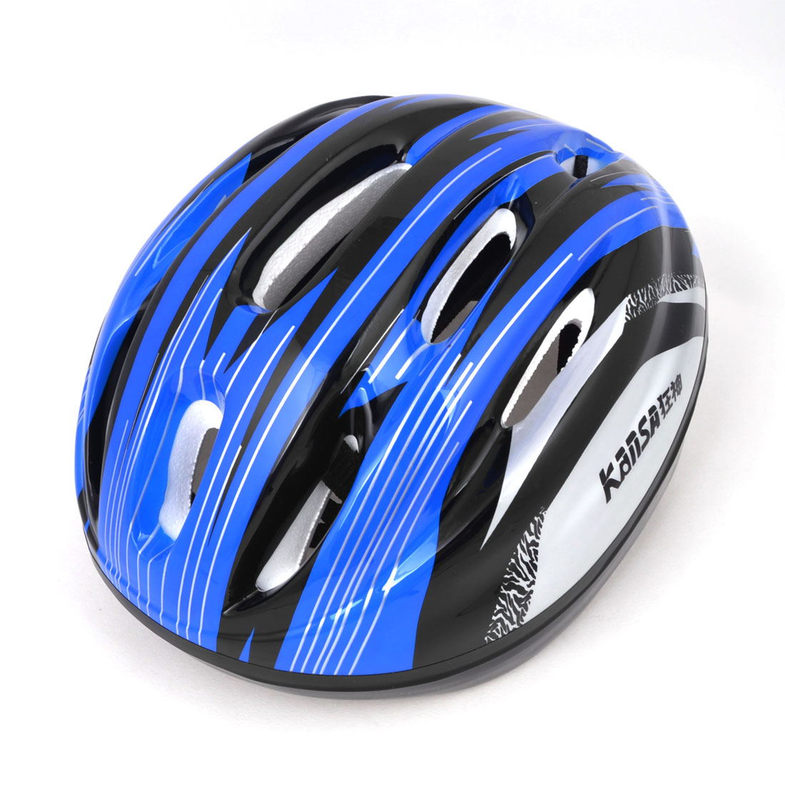 Adults Bicycling Skating Stripe Print Foam Lining Safety Helmet Blue Black