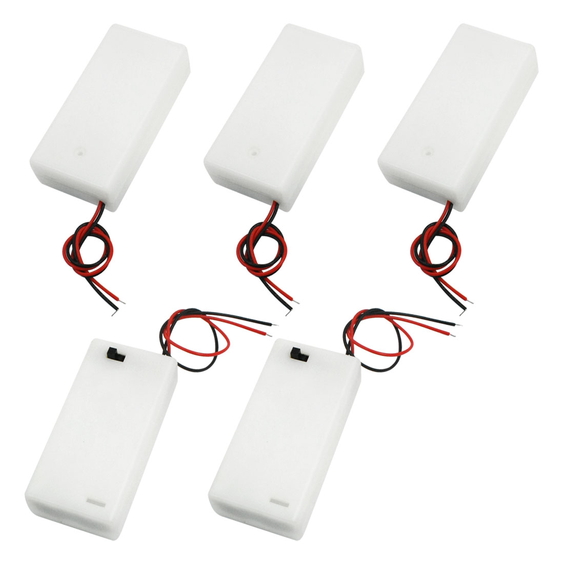 5 PCS Double Wired Leads Slide Cover Rectangle White Plastic 2 x 1.5V AA Battery Holder Case Box w ON/OFF Switch