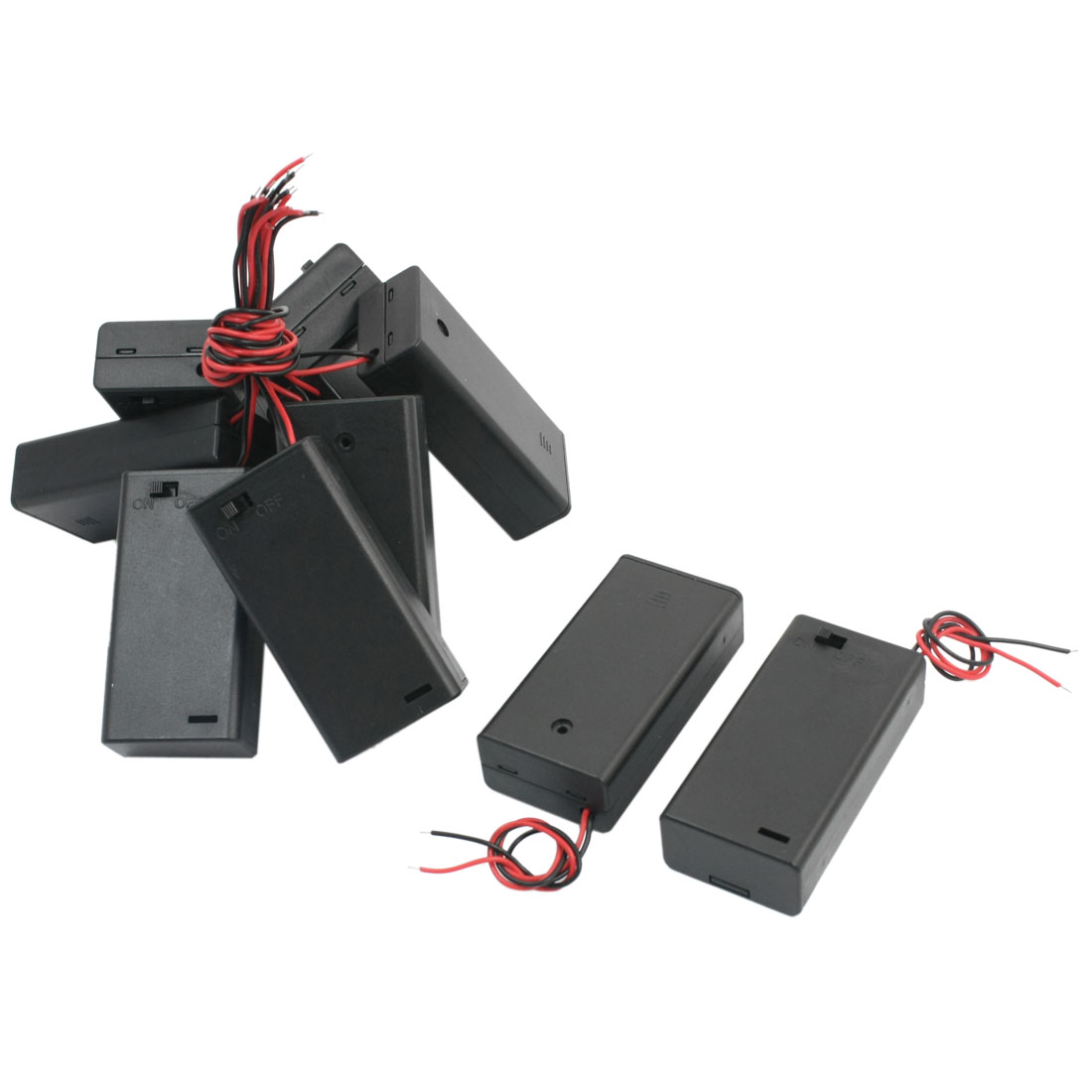 10 Pcs Two Wired Leads Slide Cover Black Plastic 2 x 1.5V AA Battery Holder Case Container Box w ON/OFF Switch
