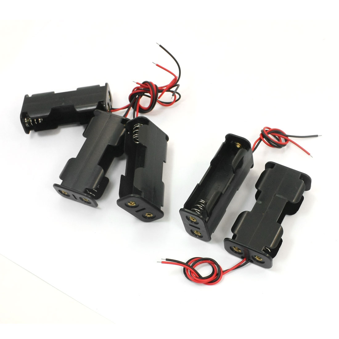 5Pcs Spring Loaded Two Wired Double Sides Black Plastic 2 x 1.5V AA Battery Holder Case Storage Cell Box