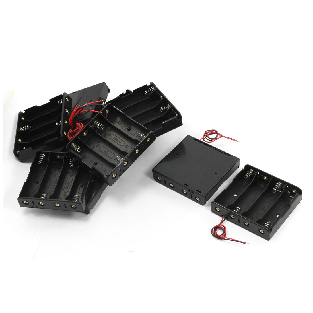 10 Pcs Open Frame Double Wire Plastic Shell 4 x 3.7V 18650 Batteries Holder Case Storage Box Container