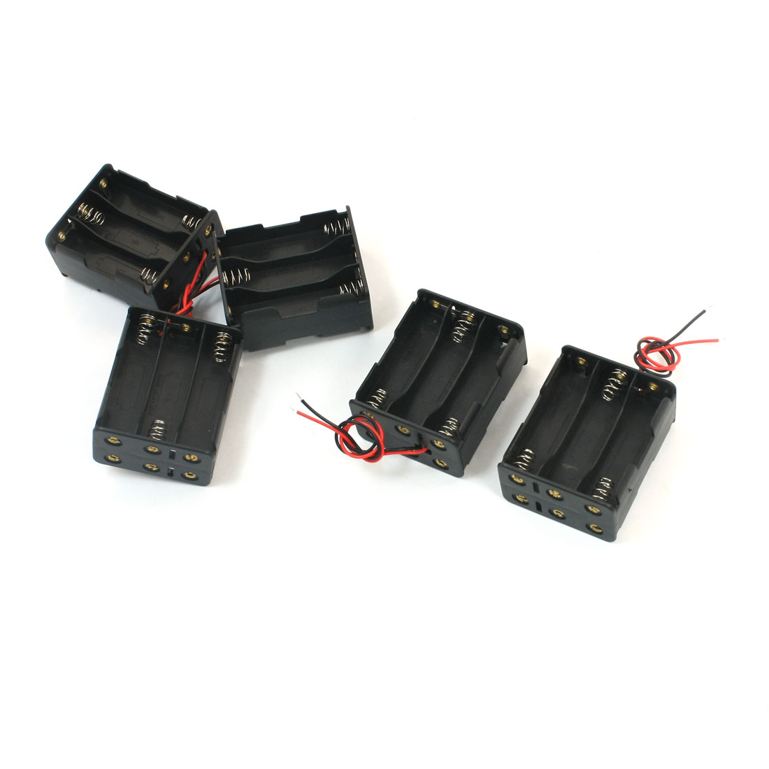 5 Pcs Spring Loaded 2-Wired Double Sides Plastic Shell 6 x 1.5V AA Battery Holder Case Storage Box