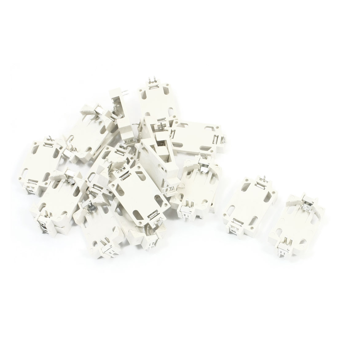 20 Pcs 3 Pins White Plastic Housing DIP Type CR2032 Lithium Cell Button Battery Holder Socket Case
