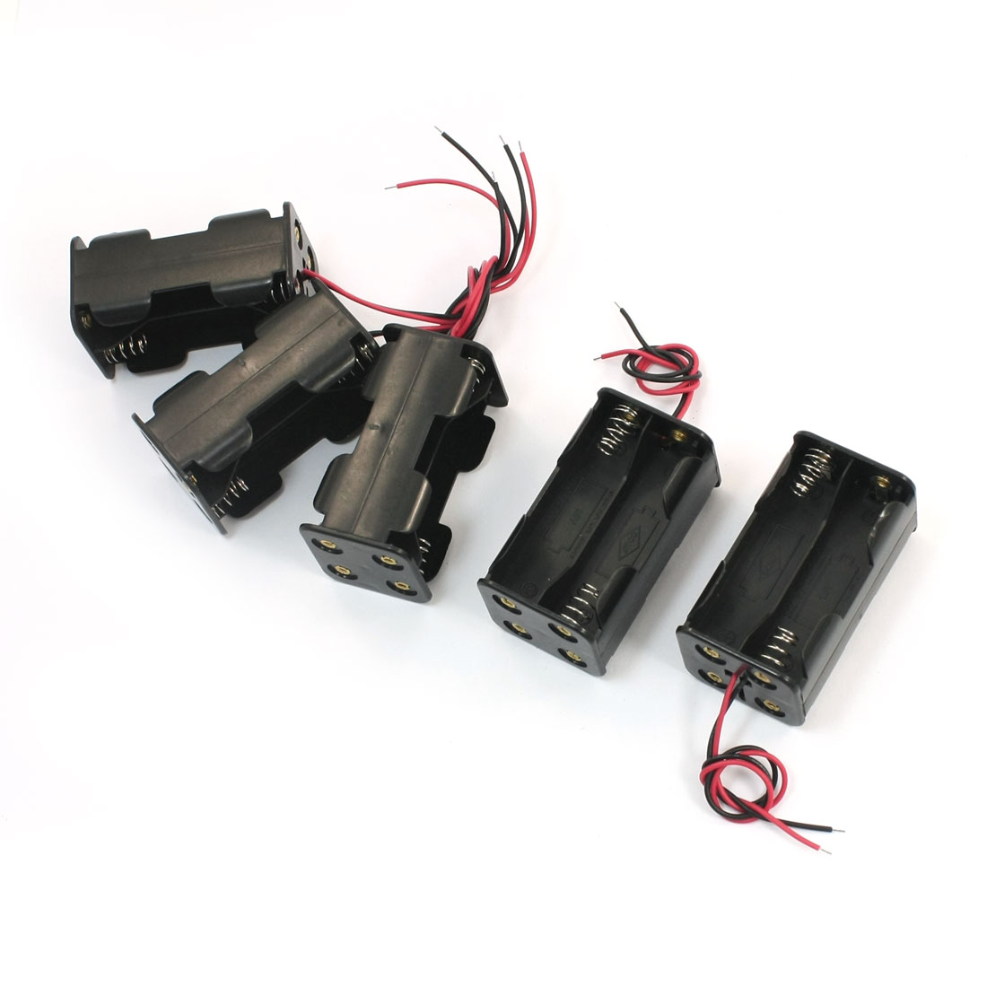 5Pcs Spring Loaded 2-Wired Dual Sides Rectangle Plastic 4 x 1.5V AA Battery Holder Case Storage CellBox