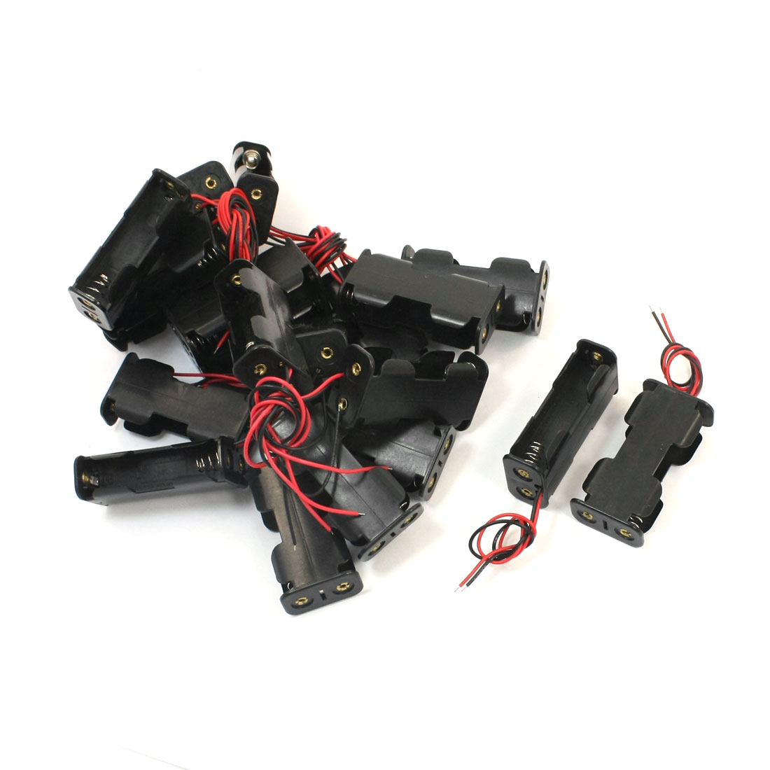 20 Pcs Spring Loaded Two Wire Dual Sides Black Plastic Shell 2 x 1.5V AA Battery Holder Case Storage Box