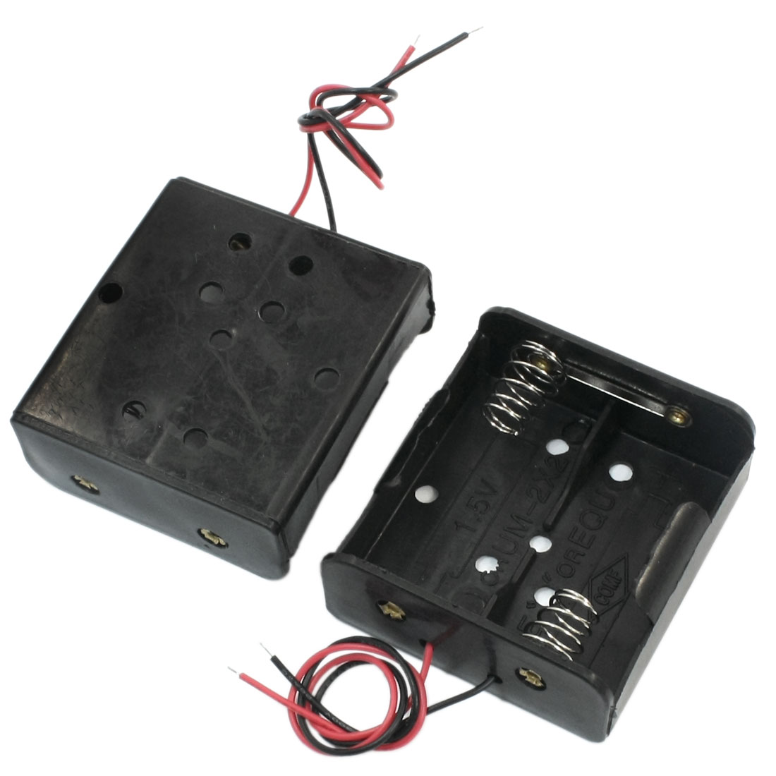 3 Pcs 2-Wire Spring Loaded Black Plastic Shell 2 x C 1.5V Battery Holders Cases Cell Boxes