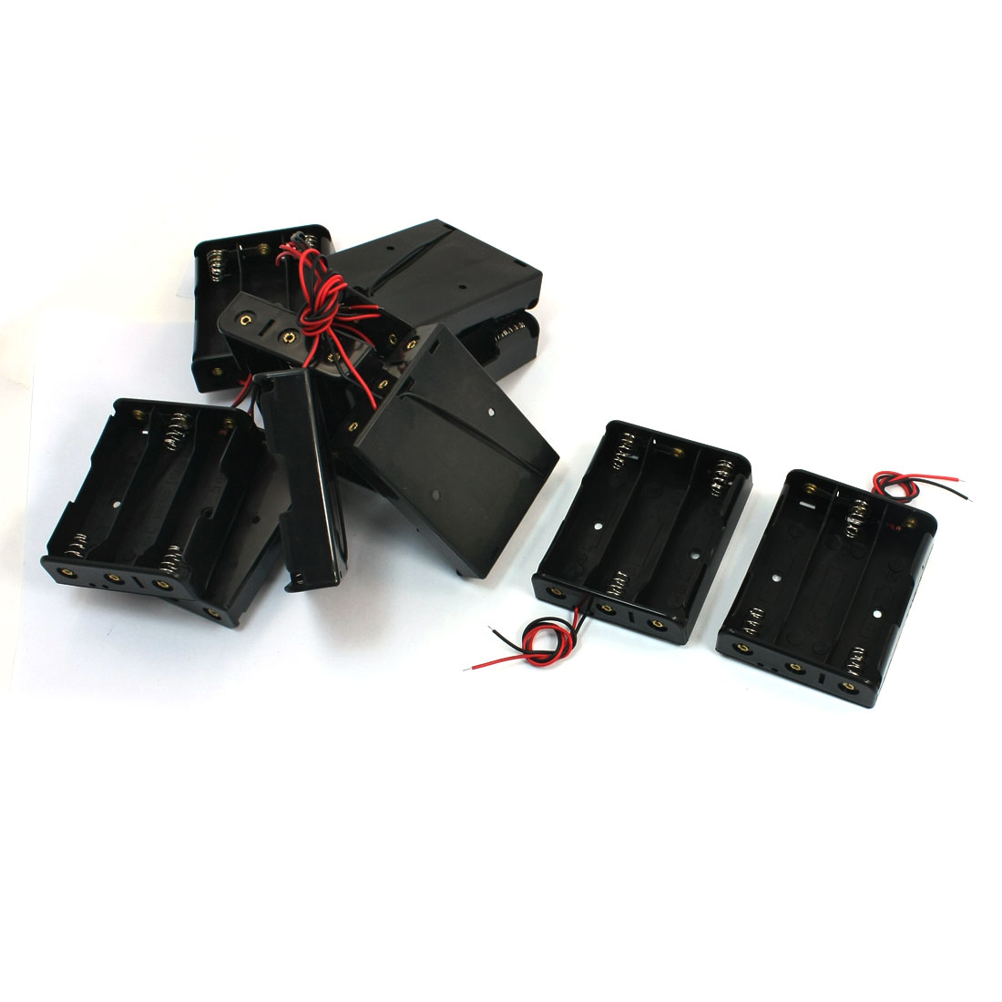 10 Pcs 2-Wire Spring Loaded Rectangle Black Plastic 3 x 3.7V 18650 Battery Holder Case Cell Box