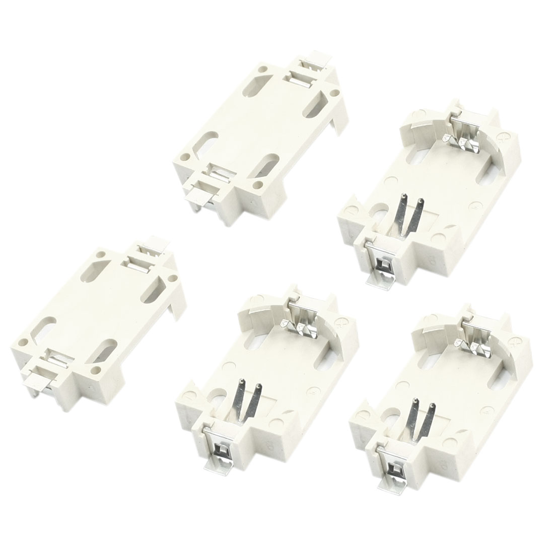 5 Pcs White Plastic Shell SMT SMD Type CR2032 Lithium Coin Cell Button Battery Holder Socket Case