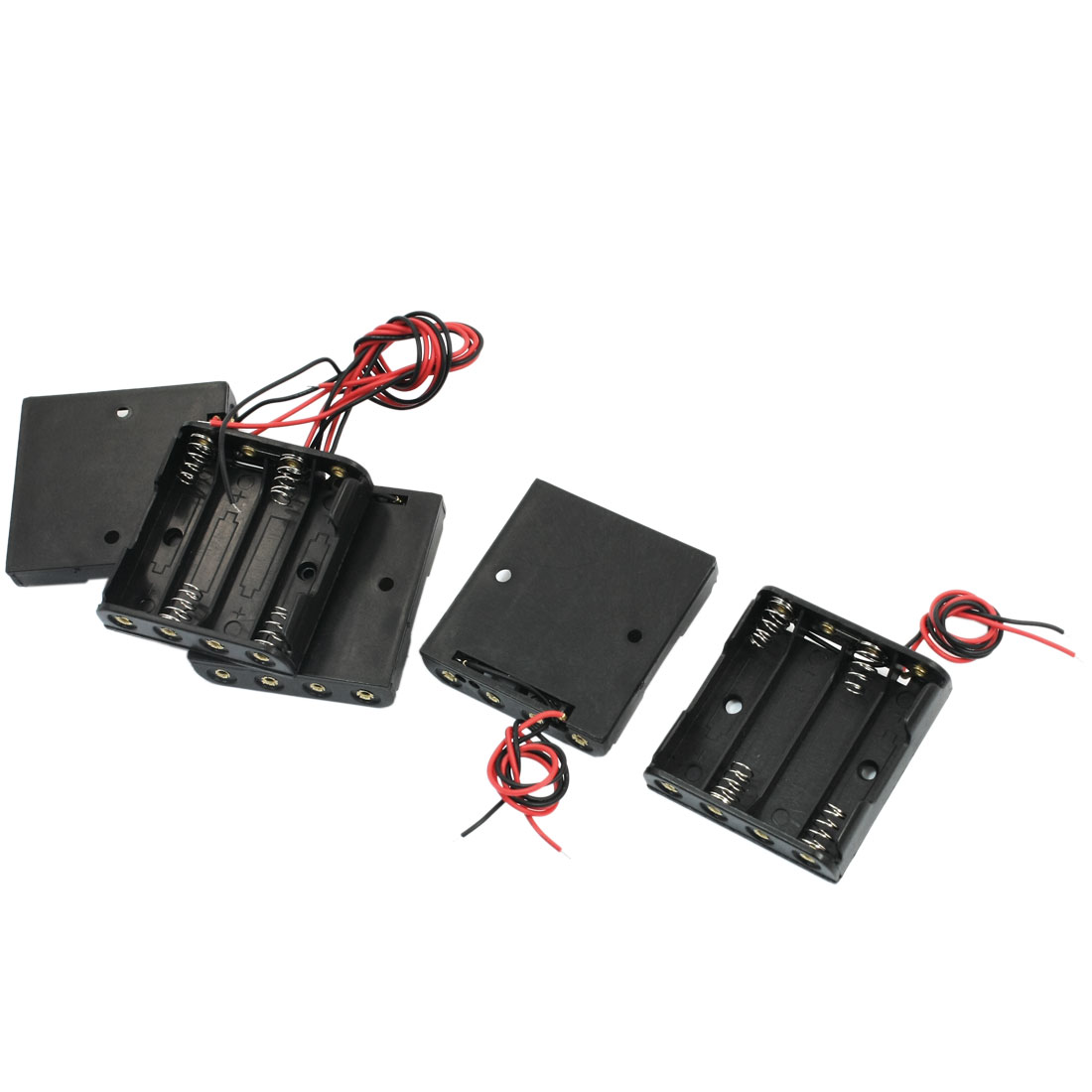 5 Pcs Open Frame Spring Loaded Dual Wire Plastic Shell 4 x 1.5V AAA Battery Holder Case Storage Cell Box