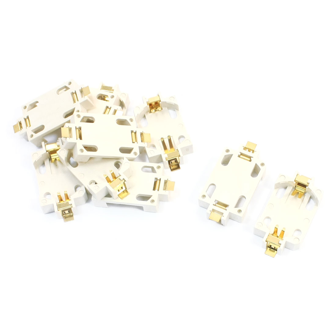 10pcs White Plastic Shell SMD SMT Type CR2032 Coin Cell Button Battery Holder Socket Case Container