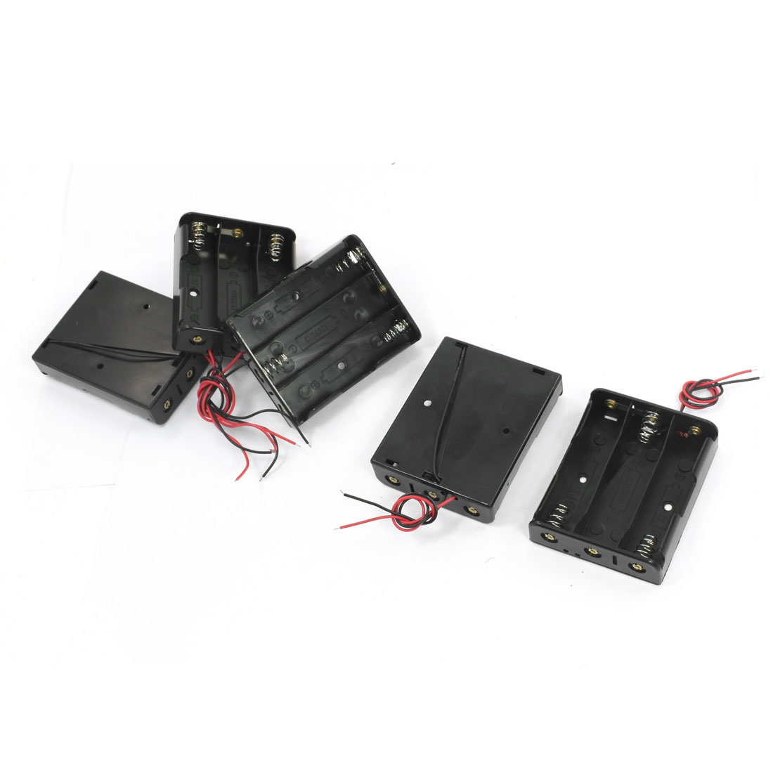 5 Pcs Double Wire Open Frame Rectangular Plastic Shell 3 x 1.5V AA Battery Holder Case Storage Box Container